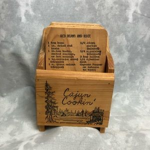 Wooden Cajun cooking recipe box with recipes
